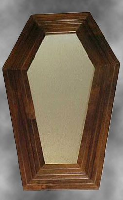Walnut coffin mirror