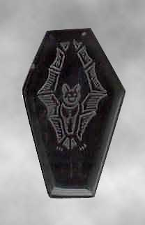 Bat-etched coffin